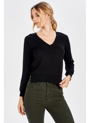 Peraluna Peraluna Siyah V Yaka Basic Kadın Triko Bluz Siyah